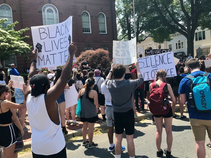 A large crowd gathered in front of the Harford County Courthouse in Bel Air Wednesday afternoon in protest of the death of George Floyd and many other African Americans at the hands of law enforcement.
