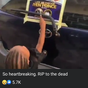 (Video) Sad Moment A Young Girl Was Calling Her Deceased Dad Touching His Obituary