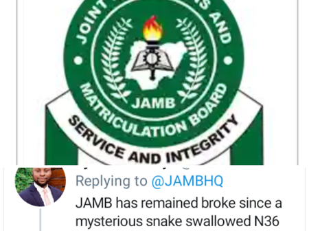 Twitter User Mocks JAMB's Tweet Using the 36 million Swallowed by a Snake, Here is Why?