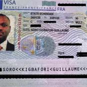 Voici le visa européen de Soro qui lui permet de circuler librement dans l'espace Schengen