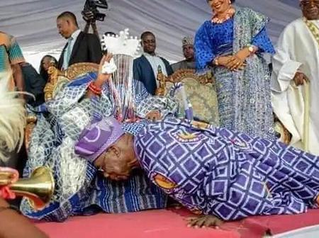 See Photos Of Humble Obasanjo Bowing And Prostrating Before People[Photos]