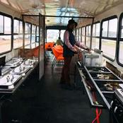 A Young Man Started A Fast Food Restaurant Inside A Bus.