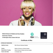 Dj Cuppy gains admission into Oxford University