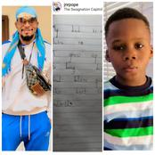See The Lovely Message Junior Pope's 6 Years Old Son Jason Pen Down To Him, That Got Him Emotional.