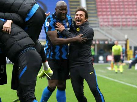 Fans react after Antonio Conte ran over to celebrate with his Inter players