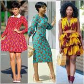 See these Short gowns made with African fabrics for pretty Ladies