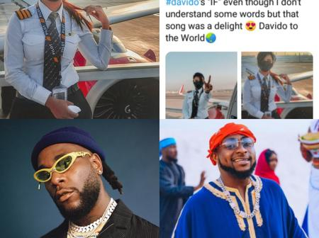 Remember the Indian pilot who said she likes Burnaboy's music, see what she said about Davido's song
