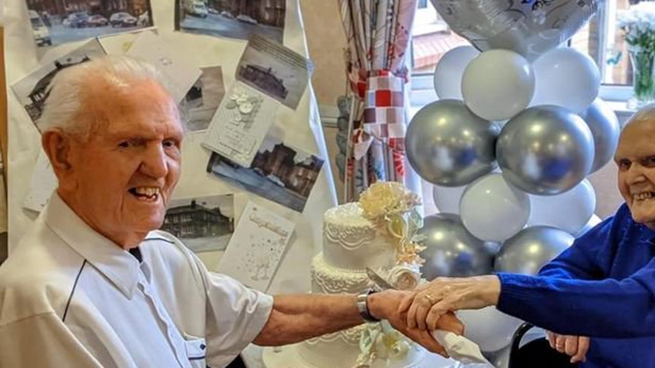 Care home couple celebrate 70th wedding anniversary in style