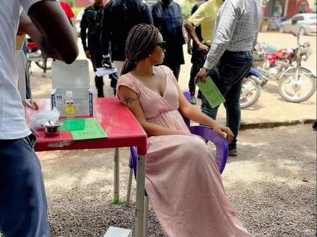 Actress Regina Daniels Receives Her Covid-19 Vaccine (Photos)