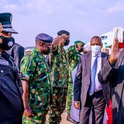 Check Out Pictures As President Muhammadu Buhari Arrives In Abuja From London After Medical Trip