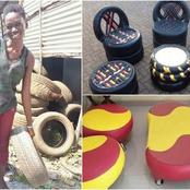 Meet Young Nigerian Creative Entrepreneur Who Makes Beautiful Furnitures From Old Tires.