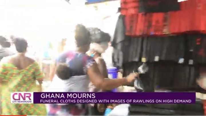 """a40992c9e4e542918e4e0162d84d11f9?quality=uhq&resize=720 - """"Ghana Mourns"""": Funeral Cloths With JJ Rawlings Image In High Demand In Ghana"""