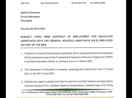 Department of education didn't renew contract of some assistants & schools have to return them home