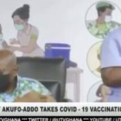 President Nana Addo Dankwa takes his vaccine along with other members of state.