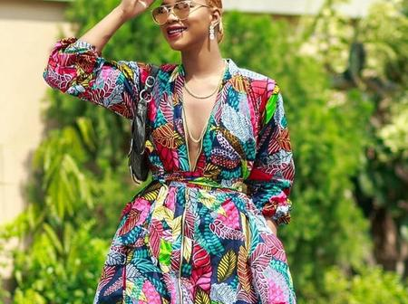 Serve chic looks in these lovely Ankara short gown like style blogger, Angel Obasi