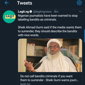 Don't Call Bandits Criminals, If You Want Them To Surrender Describe Them With Nice Words Sheik Gumi