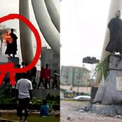 See What Angry Mob Did To Nnamdi Azikiwe's Statue In Anambra (Photos)