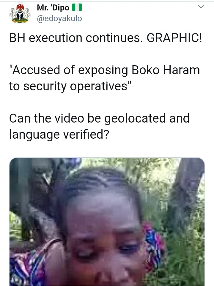 "Woman beheaded, ""Accused of exposing Boko Haram to security operatives"" (video)"