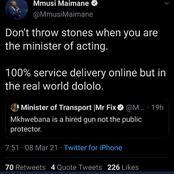Tweets Backlashes On Minister Of Transportation Fikile Mbalula.