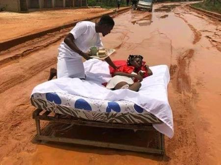 Couple Celebrate Their Honeymoon On Muddy Road In Anambra State