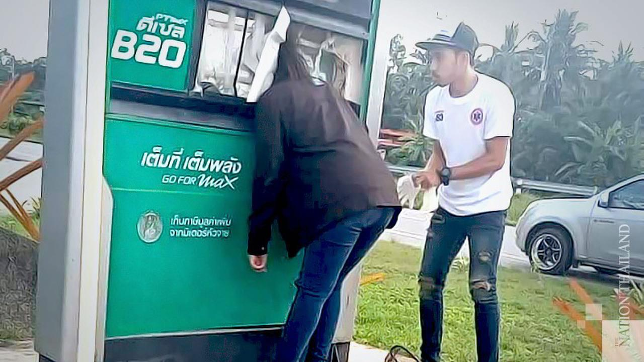 Thai woman gets trapped in display box from speeding accident