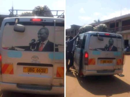 Joy After Vehicles in Uganda were spotted Branded with Dp Ruto's Photo.