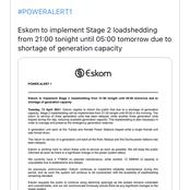 Just In: Loadshedding makes return with power demand