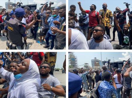 Fearless Youths Protested In front Of Fully Armed Police Officers At Lekki Toll Gate (Photos)