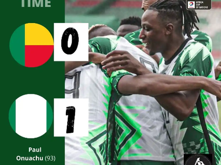 After Super Eagles Won 1-0 Against Benin Republic, See How The AFCON Table Looks Like.