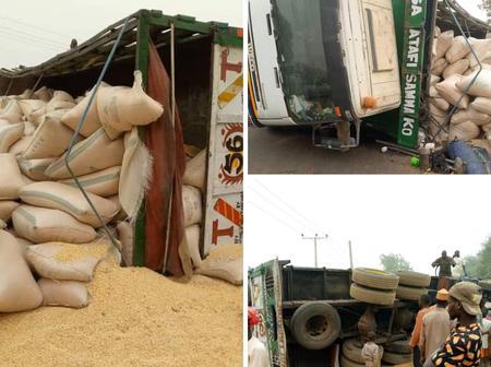 Trailer transporting grains got into a crash in Katsina State [Photos]