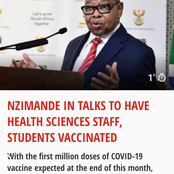 Vaccine roll out : Blade Nzimande have news for students