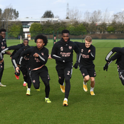 Photos; Arsenal Stars in training ahead of the Europa League showdown with Benfica on Thursday