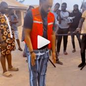 Damola Olatunji shows off a new dancing style on a movie set