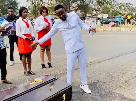 Reactions As Actor Zubby Michael Dropped Video of Himself Praying for the Dead in a Movie (Video)