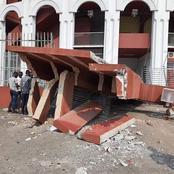 Treichville : un gros camion détruit complément l'entrée principale du palais des sports