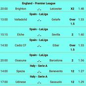 Best Of Late-night Eight Correct Score, GG & Over 2.5 Goals Matches Tips To Stake and Earn Big
