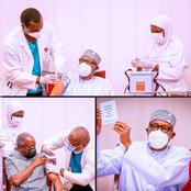 Photos: Buhari, Yemi Osinbajo receive covid-19 vaccination on live tv