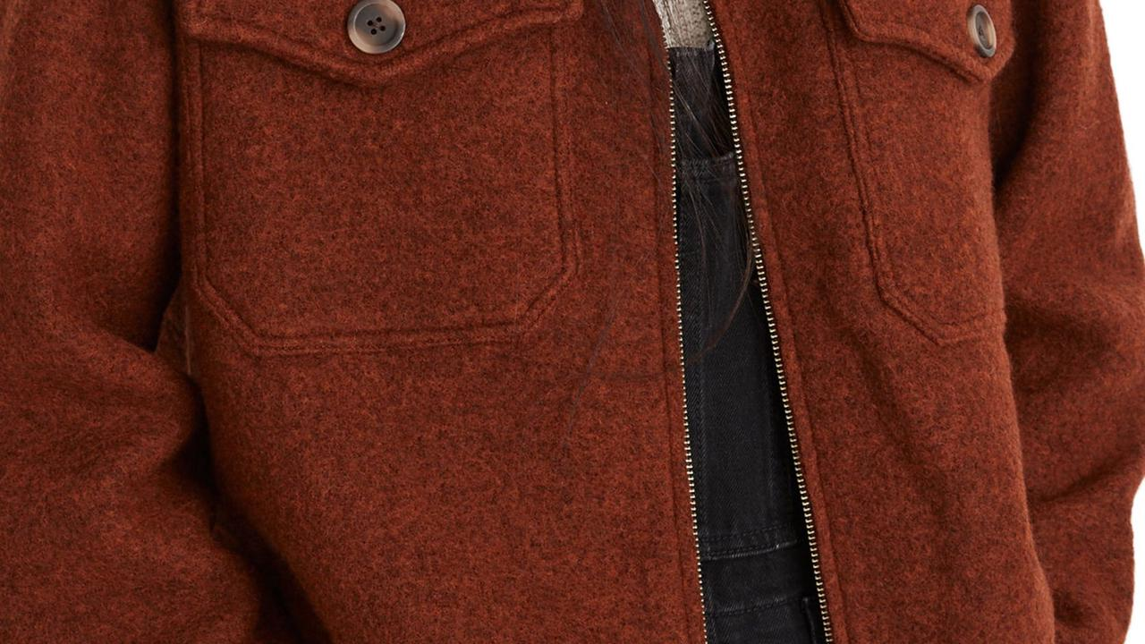 Women's Madewell Johnsville Merino Wool Sweater Jacket, Size Large – Red