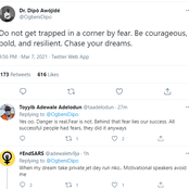 Young People React As This Notable Man Urges Them Not be trapped by Fear But to chase their Dreams