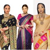 Who Looks Better on The Indian Sari? Adesuwa, Linda, Omotola, or Nadia Buhari [See Photos]