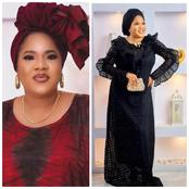 Fans react as Toyin Abraham dazzles in new photos wearing a stunning black gown