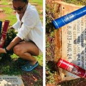 After A Lady Got Two Degree Certificates, See What She Did To Her Late Father's Grave