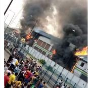 See the pictures of Sanwo olu's family house, NPA and police stations all set on fire by protesters.