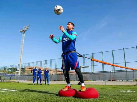 Barcelona players return to training ahead of their Laliga match on Monday.
