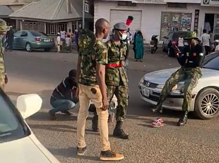 Nigerian Defence Academy Cadets Seen Flogging Motorists, Forced Them To 'Frog Jump' In Gombe