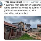 A prominent business man demolishes a house he built for his girlfriend after breaking up with him.