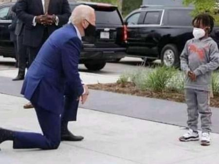 What George Floyd Son Told Joe Biden As He Knelt Down Begging For Forgiveness For Death Of His Dad