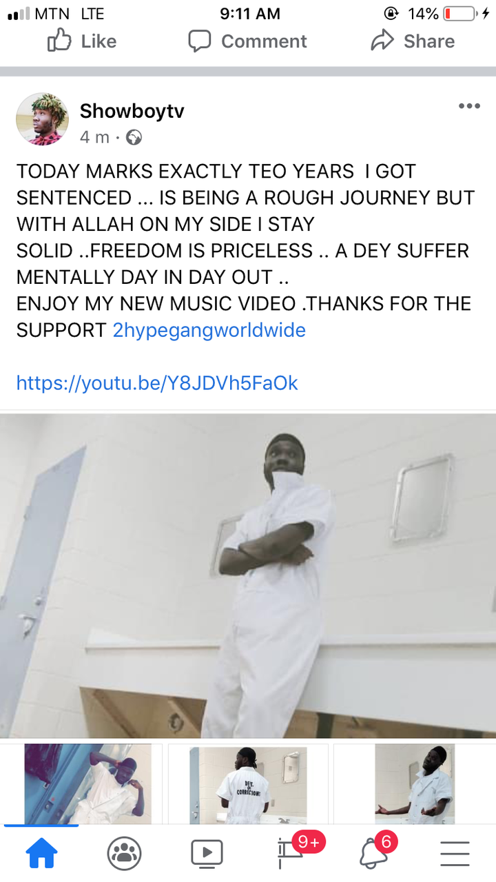 acfa35bdf681487c9e3ddb85e303b1ea?quality=uhq&resize=720 - Showboy Breaks Down As He 'Celebrate' Two Years In Prison; Sand Advice To All