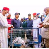 The governor of imo state empowers the youths with rabbits