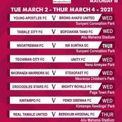 Here's a look at the midweek fixtures in the DOL
